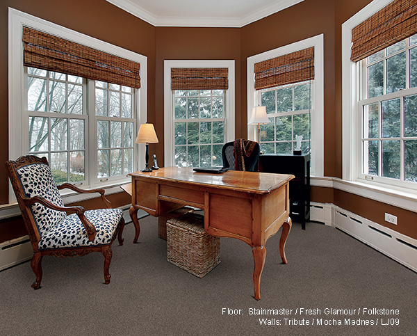 study - mocha walls - stainmaster carpet - windows - desk